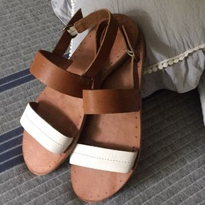 Brown and ivory Frye Sandals. Brand new.